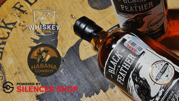 Whiskey Tango Foxtrot by Texas Whiskey Festival logo, Black Feather Whiskey bottle,, Habana Cowboy Logo, and Powered by Silencer Shop